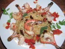 Riesengarnelen (Black Prawns) auf Aioli Art mit Spaghettini (für alle Italienfans) - Rezept