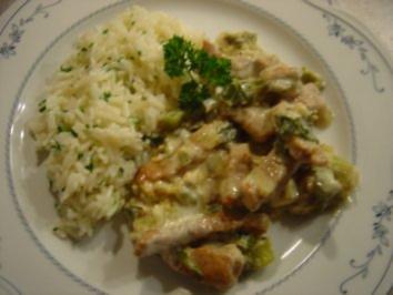 Geschnetzeltes mit Lauchzwiebeln und Kräuter-Butter-Reis - Rezept