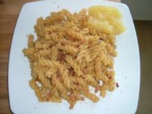 Nudeln mit knusprigen Paniermehl und Speck - Rezept