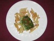 Pochierter Kabeljau mit Basilikum und Penne - Rezept