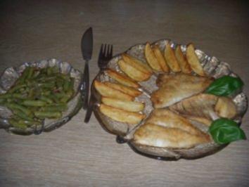 Doradenfilets mit Kartoffelspalten und Bohnensalat - Rezept