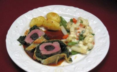 Rezept: Schweinelende im Spinat-Blätterteigmantel, Leipziger Allerlei und Risoleekartoffeln