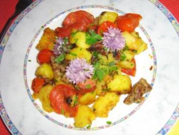 Bratkartoffeln mit Chorizowurst und Tomätchen - Rezept
