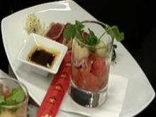 Gegrillte Streifen vom Gelbflossentunfisch mit Melonen-Salsa - Rezept