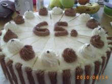 Torten: Zweifarbige Torte - zum 65. Geburtstag des Seniorchefs - Rezept