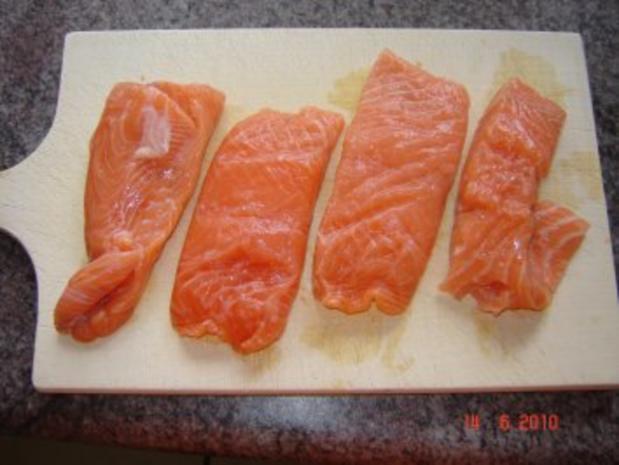 Fisch : Lachs in Sahneauce mit Tagliatelle - Rezept - Bild Nr. 2