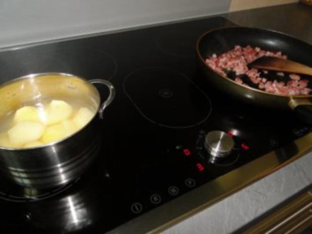 Stampfkartoffeln mit Speck und Zwiebeln, und Buttermilch   Für Göga mit Joghurt - Rezept - Bild Nr. 4