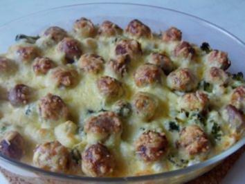 Bratwurstbällchen-Kartoffelauflauf - Rezept