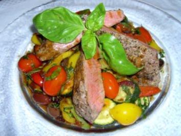 Lamm an gebratenem Gemüse - Rezept