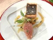 Zweierlei vom Gotteslachs mit Gemüseroulade á la de Santis - Rezept
