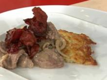 Boeuf Stroganoff mit Kartoffelrösti und Rote-Beete-Chips á la de Santis - Rezept