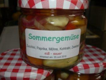 Gemüse:   SOMMERGEMÜSE.....süß-sauer eingelegt - Rezept