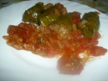 Gefüllte Weinblätter in Tomatensauce ~ Domates Salcali Yaprak Sarmasi - Rezept