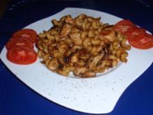 Gebratene Nudel-Champignon-Hähnchenbrust-Pfanne - Rezept