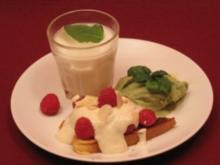 Süße Bruschetta mit Basilikumeis und spanischem Likör - Rezept