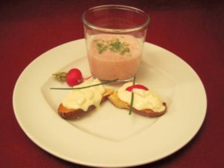Radieserlsuppe und Birnen-Obatzda-Crostini - Rezept