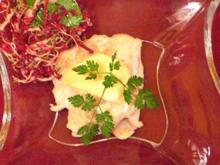 Forellenröllchen mit Meerrettich-Apfel-Schaum - Rezept