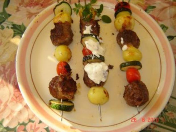 Grillen : Kartoffel-Hack-Spießchen mit Sauercreme - Rezept - Bild Nr. 5