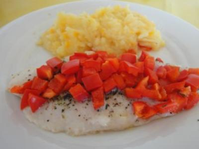 Paprika-Fisch mit Kartoffel-Möhren-Stampf - Rezept