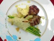 Lammkotelett mit Trüffelpüree und wildem Spargel in Parmesanschiffchen - Rezept