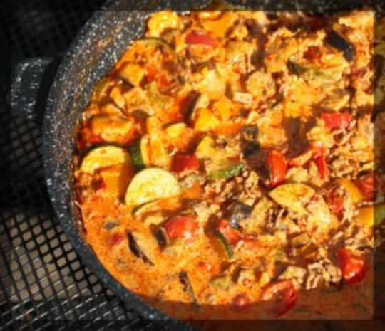 Gemüsepfanne in Frischkäsekräuter-Sauce - Rezept