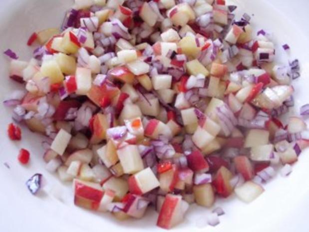 Weinberg-Pfirsich-Salat mit Pfeffersteak - Rezept - Bild Nr. 3