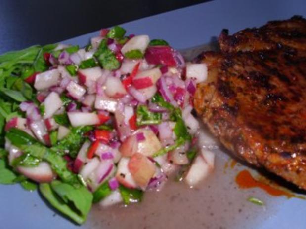 Weinberg-Pfirsich-Salat mit Pfeffersteak - Rezept - Bild Nr. 5