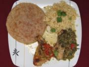 Tandoori-Chicken aus dem Backofen mit Spinat, Paprika und indischen Gewürzen - Rezept