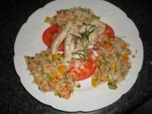 Knoblauchhuhnstreifen auf Tomate mit Gemüsereis - Rezept