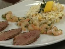 Waldorfsalat de luxe mit marinierten Krabben und Entenbrust - Rezept