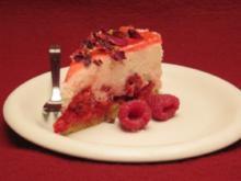 Rosen-Käsekuchen mit Himbeeren - Rezept