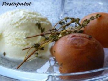 Thymian-Aprikosen an Vanilleeis - Rezept