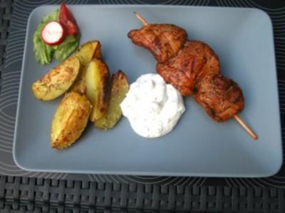 Souvlaki mit griechischen Ofenkartoffeln - Rezept