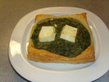 Pikante Kuchen: Blätterteig mit Spinat - Rezept