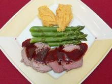Pochiertes Kalbsfleisch an Kartoffel-Rübenmousse mit Gemüse - Rezept