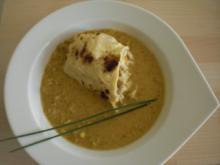 Vanille-Curry-Linsen mit (gedämpften) Lachs-Kokos-Pfannkuchen - Rezept
