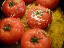 Gefüllte Tomaten mit Hack und Lauch - Rezept