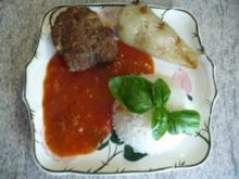 Hackfleisch - Gelbe Spitzpaprika gefüllt mit Hackfleisch anTomatensoße und Reis - Rezept