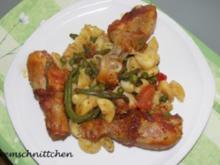 Restepfanne mit Hähnchenkeulchen - Rezept