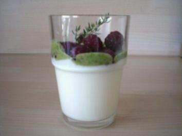 Joghurt-Thymian-Pannacotta mit Himbeeren an Kräuterhonig - Rezept