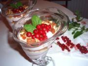 Dessert: Quark-Joghurt-Creme mit Beeren und Mandelkrokant - Rezept