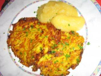 Rezept: Kartoffel-Karotten-Puffer mit Apfelmus