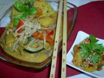 Thai-curry mit Rindfleisch und  Gemüsereis - Rezept