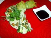 Vegetarisch gefüllte Zucchiniblüten mit  Pfifferling-Kräuterschaum - Rezept