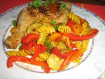 Hähnchenschenkelpfanne mit mediterenem Gemüse - Rezept