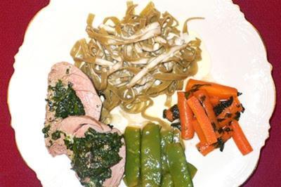Schweinefilet gefüllt mit Blattspinat und Gorgonzola - Rezept