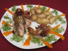 Gebratenes Kaninchen mit Rosmarin, dazu Drillinge - Rezept