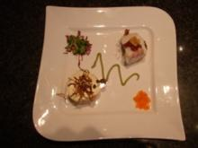 Törtchen vom Lachs- und Forellentatar an Avocadocreme u. Kabeljau-Crostinis - Rezept
