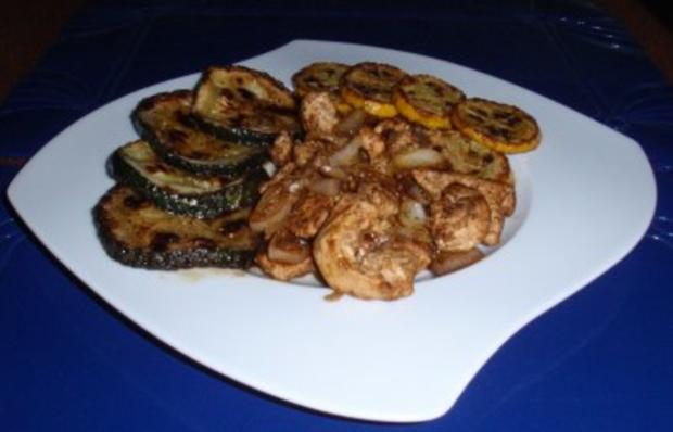 Gebratene Putenbruststreifen mit Zwiebeln und gebratenen gelb/grünen Zucchinischeiben - Rezept - Bild Nr. 8