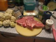 Kalbskotelett mit Curryblumenkohl  und Tomätchen - Rezept